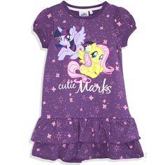 My Little Pony Girls Warm Autumn Winter Dress / Tunic Thick Fabric 2-8 Years - Purple