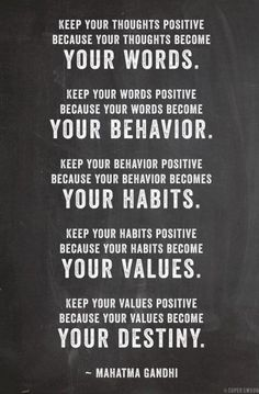 Mahatma Gandhi quote about the power of positive thinking.