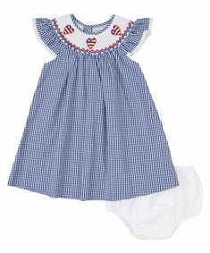 Blue Gingham, Gingham Dress, Navy Blue, Kids Coats Girls, Baby Clothes Blanket, Chicken Scratch Embroidery, American Doll Clothes, Girl Outfits, Cotton