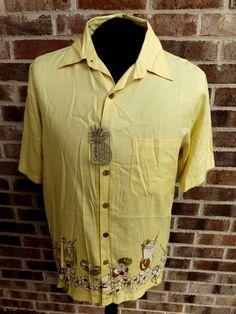 76001740 Caribbean Men's Hawaiian Camp Shirt Silk Blend Roundtree & Yorke M Aloha  Cocktail #RoundtreeYorke