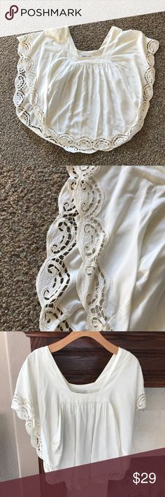 MINK PINK Vintage crochet scalloped blouse. Flowy Beautiful vintage inspired blouse. Crochet laser cut, scalloped edges. Gorgeous! Pictures dont do it justice. Worn only a couple times. Great condition! Xs but can fit small. MINKPINK Tops Blouses