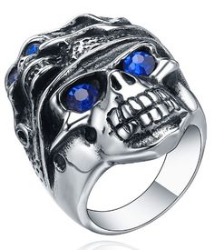 Stainless Steel Gothic Biker Blue Cry... (bestseller)