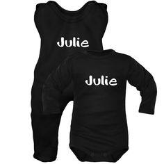 940618145b824 Ensemble bébé noir avec prénom   Grenouillère et body
