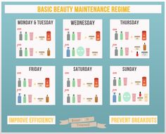The Basic Beauty Maintenance Routine Chart: A week-based chart on when and how often to use your beauty products. All the steps and helpful tips and tricks are listed below the chart.