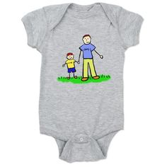 """#Redhead #Family Baby Bodysuit shows #dad and #son hold hands. The #father's shirt read #daddy and the little #boy's shirt reads """"me""""."""