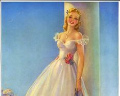 Vintage Art Deco Thomas D. Murphy Pin-Up Print by Jules Erbit Featuring Sweet Sue A Fresh Faced Blonde Southern Belle Wedding Cake Toppers, Wedding Cakes, Vintage Prom, Prom Night, Southern Belle, Cinderella, Pin Up, Aurora Sleeping Beauty, Glamour