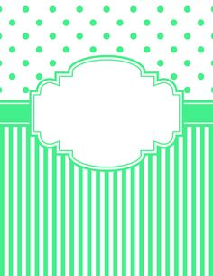 Free printable green polka dot and stripe binder cover template. Download the cover in JPG or PDF format at http://bindercovers.net/download/green-polka-dot-and-stripe-binder-cover/