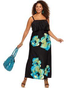 Style Plus Size Dress, Sleeveless Ruffled Printed Maxi - Plus Size Dresses - Plus Sizes - Macy's