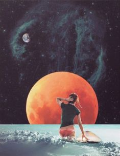 """""""Cloud Surfing"""" by Trash Riot -- arte, ilustraciones, art inspiration, illustrations, indie, pretty, hipster, retro, cool stuff, vintage beauty, surreal, dream, collage, moon, mars, earth, space. 