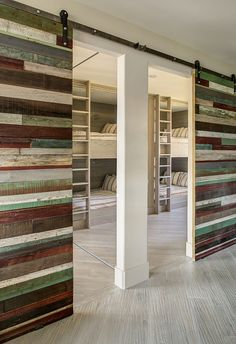 Reclaimed wood sliding barn door for a boy's loft bunk room. Photography by Marie-Dominique Verdier. Bunk Rooms, Bunk Beds, Bedrooms, Sliding Wall, Sliding Doors, Diy Home, Home Decor, Interior Exterior, Basement Remodeling