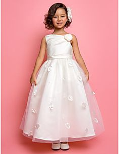 Lanting Bride A-line / Princess Ankle-length Flower Girl Dress - Satin / Tulle Sleeveless One Shoulder withBeading / Flower(s) / Sash / – USD $ 79.99