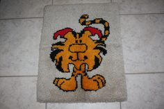 """Vintage Quirky Hand Latch Hooked Rug/""""Little Black Sambo"""" Tiger Hooked Rug/21"""" x 28"""" Wall Hanging/Vintage Tiger Rug/Book Character by DebiLynneVintage on Etsy"""