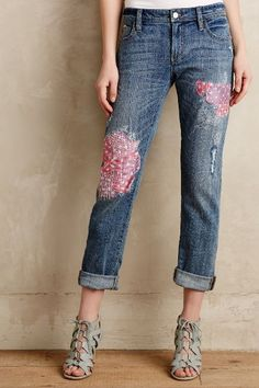Pilcro Hyphen Silk-Patched Jeans - anthropologie.com