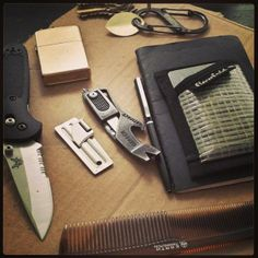 Thanks @alx_aryn  (The gear I carry every day. -Benchmade mini-griptillian knife -P-51 military can opener -Gerber artifact -Zippo (brushed brass) -Legend pen -Flowfold wallet -Molskin ruled notebook -Facial hair comb -S-biner carbiner w/keys #edc #everydaycarry #pocketdump #benchmade #gerber #zippo #flowfold #moleskin)