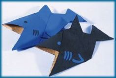 Shark origami - activity or invite - with instructions