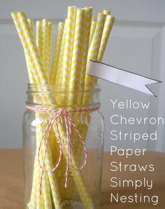 25 Yellow Paper Straws, Chevron Striped Paper Straws, Party Straws, Wedding Straws-purchased!