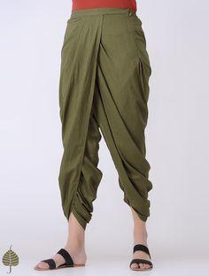 Green Elasticated-waist Cotton Dhoti pants by Jaypore Dhoti Pants For Men, Pants For Women, Clothes For Women, Stylish Summer Outfits, Stylish Dresses, Kurta Designs, Blouse Designs, Dhoti Salwar Suits, Salwar Pants