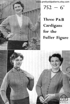 e53f7e6587caa Fabulous Plus Size 1950s 1940s Cardigans 3 Designs 40 42 and 44 Bust Patons  752 Vintage Knitting Pattern Download