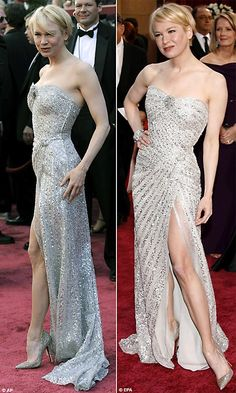 Renee Zellweger has much broader shoulders and straighter hips making her the inverted triangle shape.