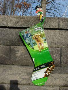 Christmas Stocking Recycled Feed Sack Dog Food Bag