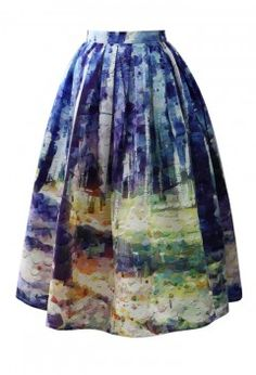 Autumn Forest Painting Midi Skirt - Skirt - Bottoms - Retro, Indie and Unique Fashion