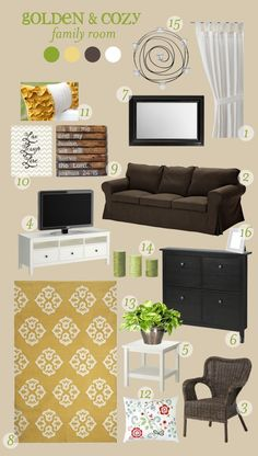 Golden & Cozy with my favorite Ikea pillow.  YES!  An inspiration board done.