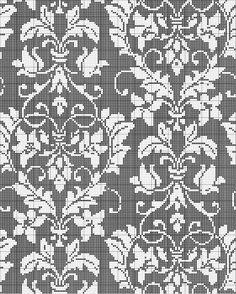 Damask Cross Stitch Pattern Attention, le motif n'est pas symétrique, il faudrait penser à le redessiner avant de l'employer pour un ouvrage...