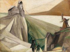 Lyonel Feininger, Estudio de las colinas (Intento temprano de formas cubistas), 1912. Óleo sobre lienzo, 45.5 x 60.3 cm, Colección particular