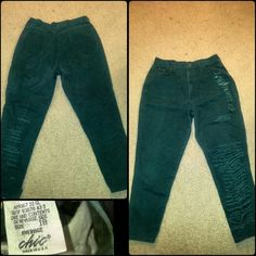 Custom vintage green jeans.. Custom vintage green jeans...very cute! Compliments waist line! Small cut 18! Jeans
