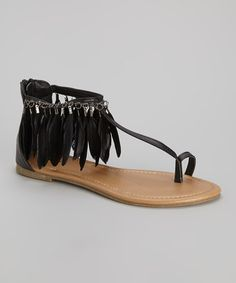 75f2c6b6a113 Capelli New York Black Feather Trim T-Strap Sandal