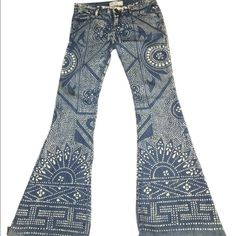 """Free people size 24 GORGEOUS Denim Jeans w/ Design They are about a 35"""" inseam, or longer. I bought them from poshmark and wore them once, as seen in above picture. I bought them cut at the bottom, they look awesome on. I Accept less through ️️. Same day delivery. Prefer not to trade but I am open minded for the right thing. Any questions, please ask.   Bundle pricing: 3 items 15% additional off. Free People Jeans Flare & Wide Leg"""