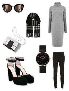 """grey&Black"" by fashionforhijab on Polyvore featuring Warehouse, Yves Saint Laurent, CLUSE, Jimmy Choo and Burberry"