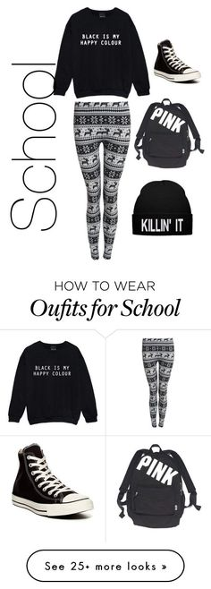 """""""Me at school on free dress when it is cold"""" by bryannafrances on Polyvore featuring Converse and Victoria's Secret"""