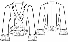 Jacket With Flounces  - Sewing Pattern #5568 Made-to-measure sewing pattern from Lekala with free online download.