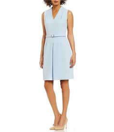 Adrianna Papell Draped V-Neck Belted A-Line Dress