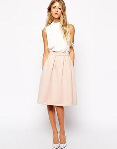 Vila | Vila Quilted A Line Midi Skirt at ASOS