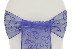 Embroidery Swirl Chair Sash/Tie - Purple