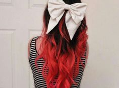 If I dye my hair I want it this style, but not the color Dye My Hair, Ombré Hair, Curly Hair, Big Hair, Red Dip Dye, Dip Dyed, Red Hair Accessories, Ivana Trump, Dyed Tips