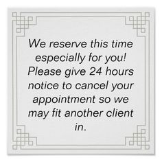 Shop Customizable Cancellation notice/policy Poster created by SmartStartConsulting. Spa Room Ideas Estheticians, Massage Therapy Rooms, Massage Room Design, Facial Room, Esthetics Room, Acryl Nails, Salon Quotes, Salon Business, Business Ideas