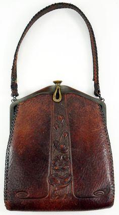 Art Nouveau Antique Arts Crafts Tooled Leather Handbag Purse 1918 Jemco Bag | eBay