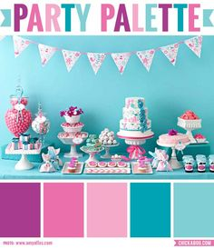 Party palette: Color inspiration in teal, pink, and purple #colorpalette - party table by @Amy Atlas