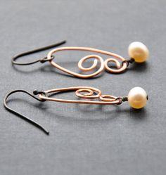 Elegant+Copper+Earrings+Wire+Earring+Hand+by+GueGueCreations,+$25.00