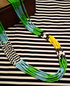 PERLER BEAD NECKLACE  tribal color block green by fricandfracshop, $48.00...Awesome necklace!