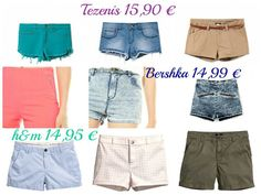 Shorts lowcost by Tezenis, Bershka and H&M