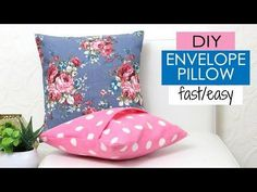 DIY Cushion Covers & Pillow Covers, How to Make a Pillow REALLY fast. Do your pillow covers needs replacing? Make a DIY pillow cover really easily with this simple tutorial. Diy Throw Pillows, Sewing Pillows, How To Make Pillows, Decorative Pillows, Diy Cushion Covers, No Sew Pillow Covers, Cushion Pillow, Envelope Cover, Diy Envelope