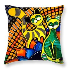 Throw Pillow featuring the painting Cheer Up My Friend - Cat Art By Dora Hathazi Mendes #rainbow #throwpillow #cats #loveart #dorahathazi