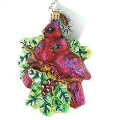 New Christopher Radko Rare Regal Red Birds Christmas Ornament Cardinal Love Xmas #020574CB