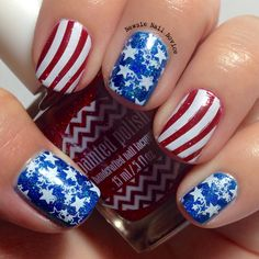 Stars and Stripes nail art for Fourth of July featuring Literary Lacquers Blue Lullaby and Painted Polish Ho Ho Holo using Winstonia W107 plate