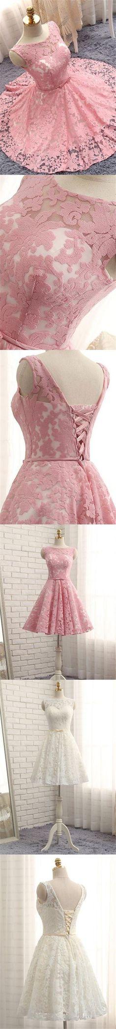 Lace Homecoming Dress Bateau Lace-up Bowknot Short Prom Dress Party Dress JK309 #HomecomingDress