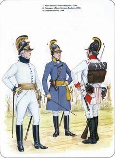 Ufficiali e fuciliere germanico inquadrati nell'esercito austriaco